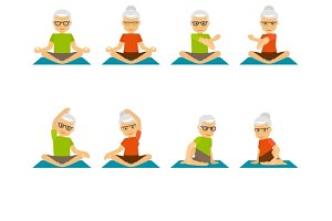 Old people yoga icons