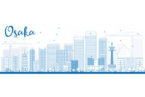 Outline Osaka with Blue Buildings