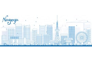 Outline Nagoya with Blue Buildings