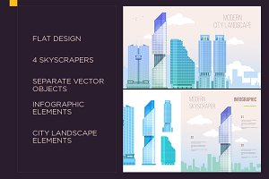 modern skyscrapers infographic set