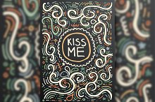 Kiss me. Hand drawn vintage print
