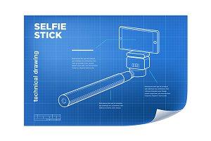 Vector isometric line selfie stick