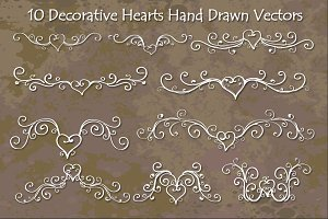 Decorative Hearts Hand Drawn Vectors