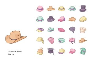 Hats color vector icons