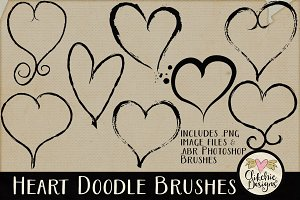 Heart Doodle Photoshop Brushes & PNG