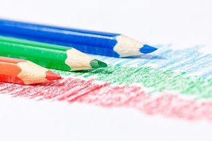 RGB pencils closeup