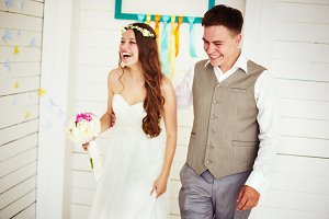 Happy young wedding couple