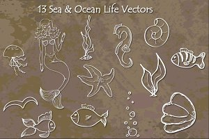 Sea & Ocean Life - Hand Drawn Vector