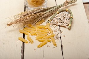 Italian pasta penne with wheat