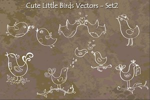 Cute Little Birds Hand Drawn Vectors