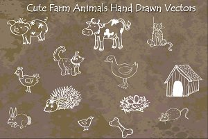 Cute Farms Animals - Hand Drawn