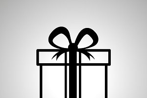 Gift simple black outline icon