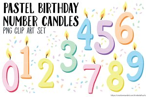 Pastel Number Candles Clip Art PNG