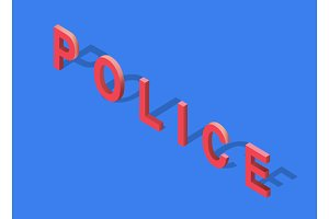 Isometric 3D Police Text
