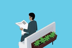 Isometric Man Reading Newspaper