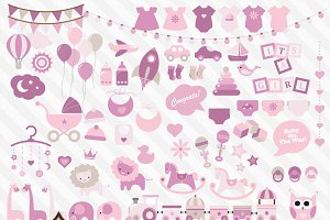 Pink Baby Shower Vector Clipart
