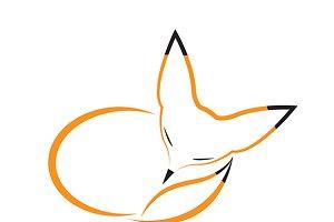 Vector image of fox sleeping