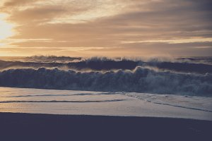 Powerful Waves at Sunset (Vintage)