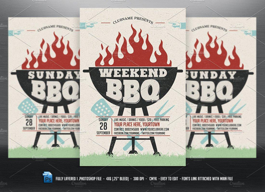 weekend sunday holiday bbq flyer flyer templates creative market
