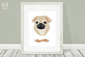 Pug dog breeds print pet wall art
