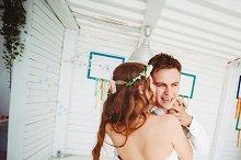 Happy young wedding couple dancing
