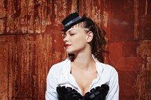 Grunge portrait of beautiful woman