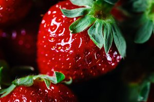 Ripe strawberry close up