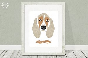 Basset hound dog breeds print art