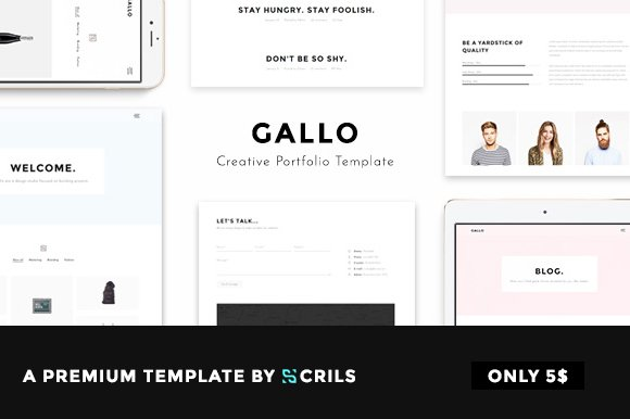 gallo creative portfolio template html css themes creative market