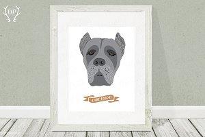 Cane corso dog breeds print art