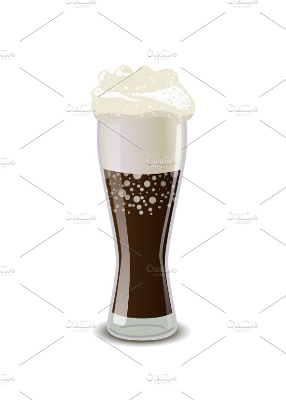 Full glass of cola with foam