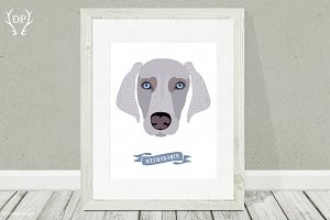 Weimaraner dog breeds print pet art
