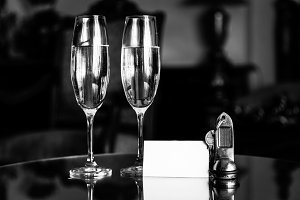 Champagne glasses in black & white.