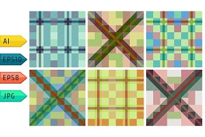 Set of seamless tartan patterns.