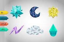 Set of polygonal weather icons.