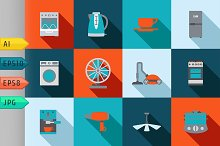 Domestic equipment icons with shadow