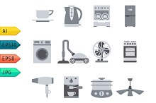Domestic Equipment gray scale icons.