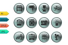 Buttons with silhouette house icons