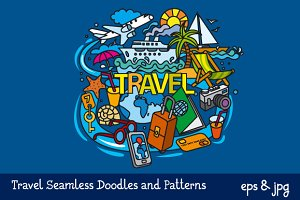 Travel Doodles and Seamless Pattern