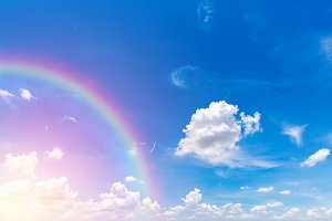 Rainbow and blue sky.