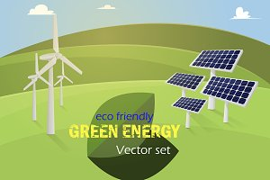 Green energy vector set