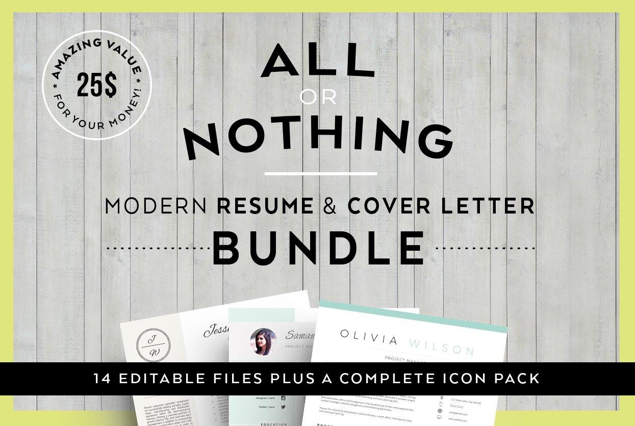 bundle resume letter templates resume templates creative market