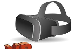 Virtual reality headset in black.