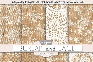 Burlap and Lace digital paper