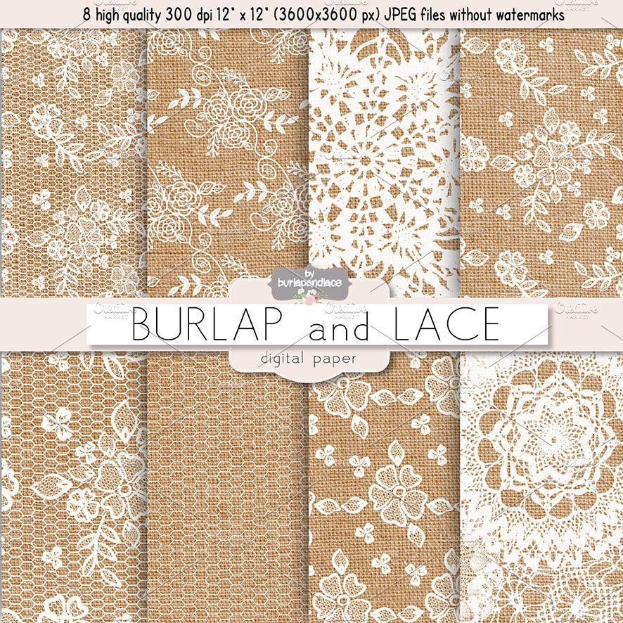 Burlap And Lace Digital Paper Patterns Creative Market