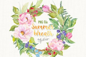 Summer Wreath Watercolor