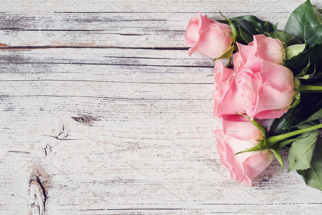 Pink Roses On White Wooden Table Abstract Photos Creative Market