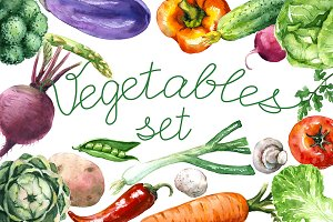 Watercolor Various Vegetables