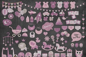 Chalkboard Pink Baby Shower Clipart
