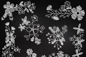 Chalkboard Flowers Clipart & Vectors